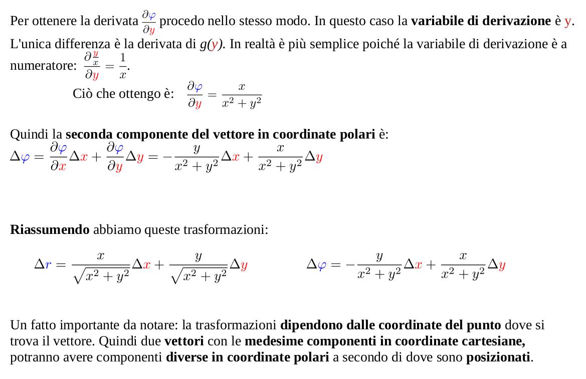 Trasformazione componenti vettori da coordinate cartesiane a coordinate polari