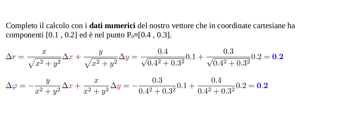 Trasformazione componenti vettori da coordinate cartesiane a coordinate polari e calcoli numerici