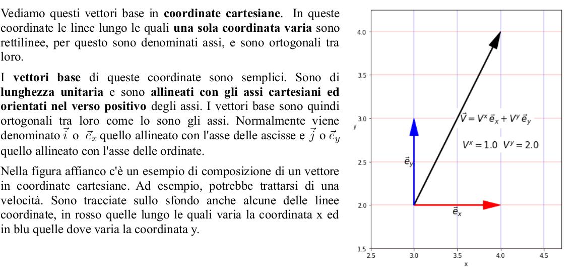 scomposizione di un vettore in vettori base cartesiani