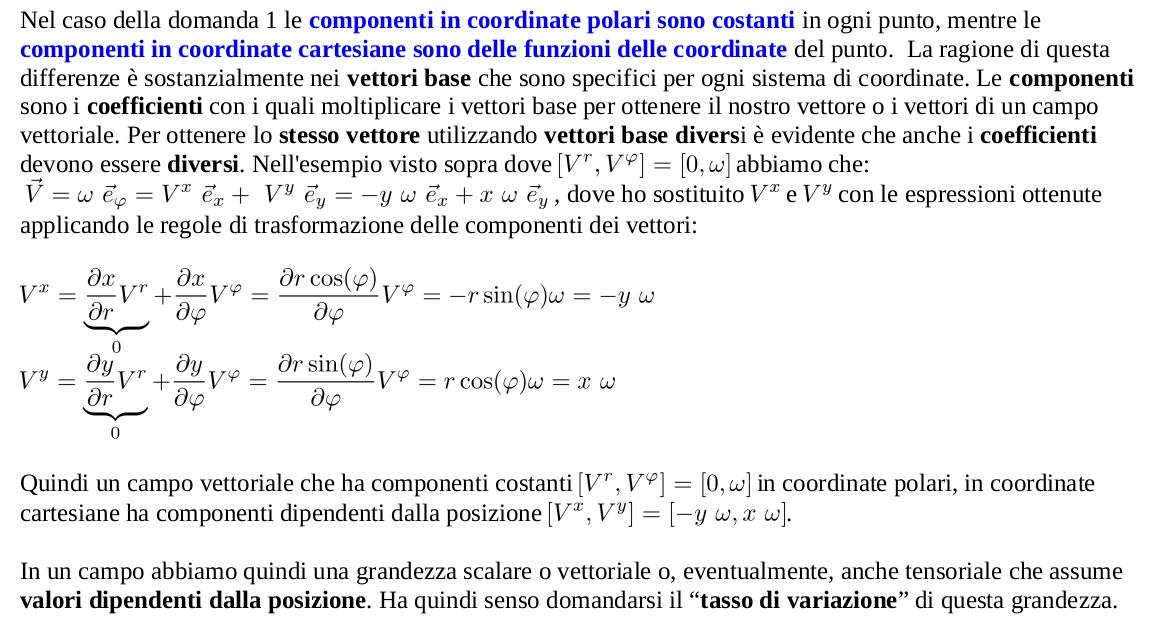 Componenti in coordinate cartesiane