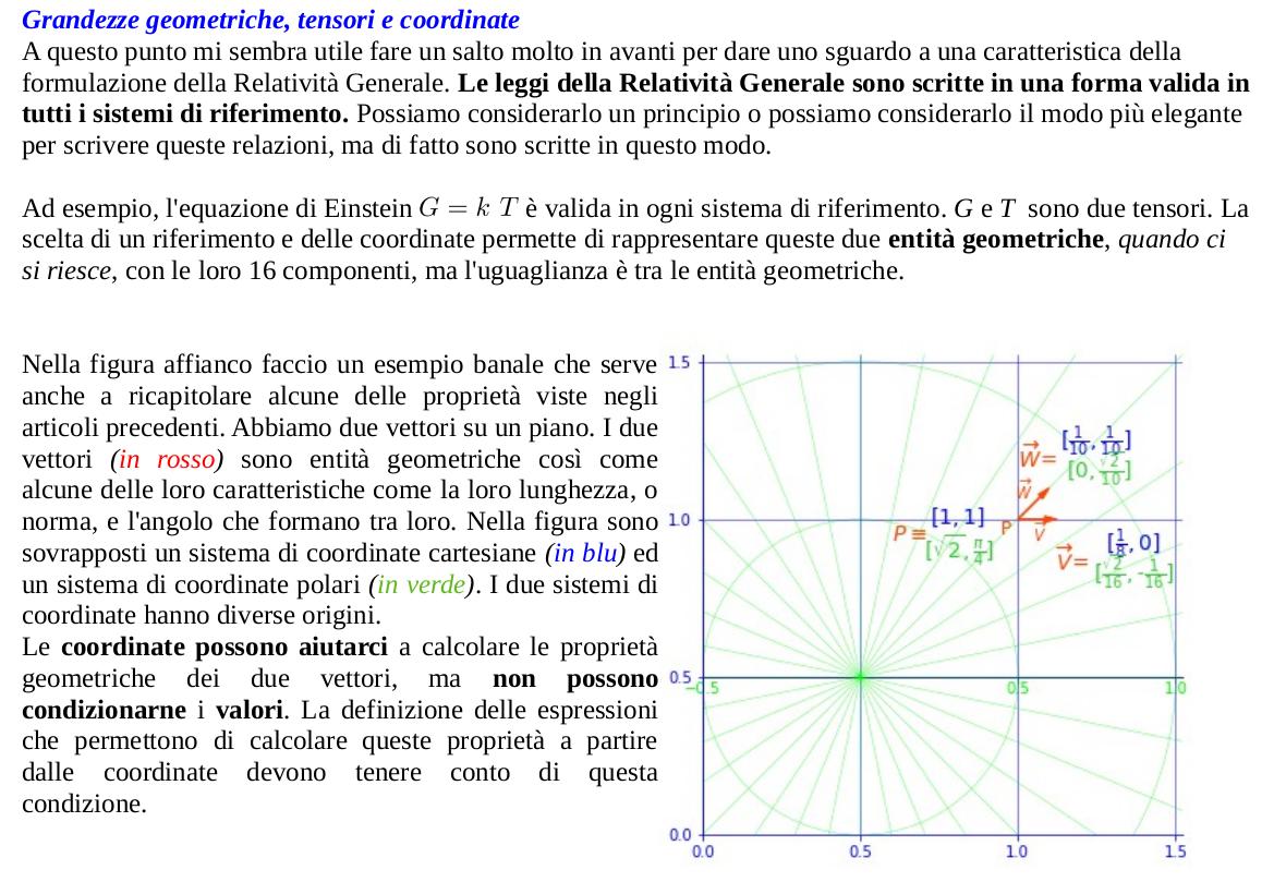 Grandezze geometriche, tensori e coordinate