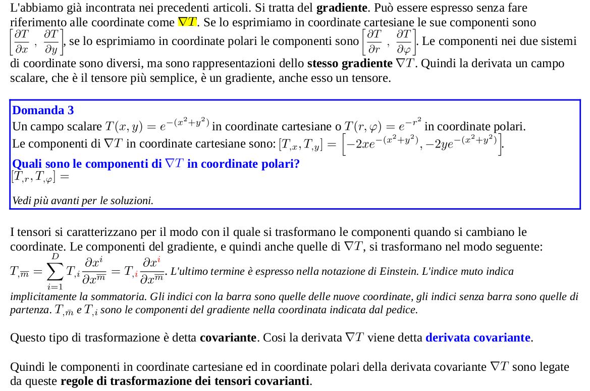 Gradiente come derivata covariante di un camposcalare