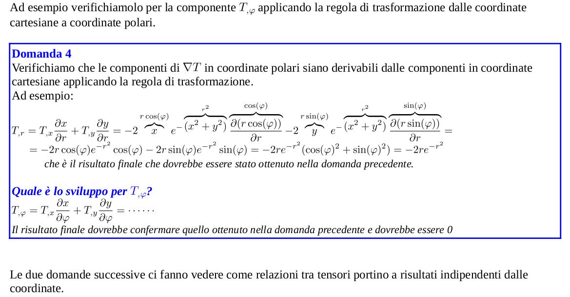 Trasformazioni delle componenti della derivata covariante
