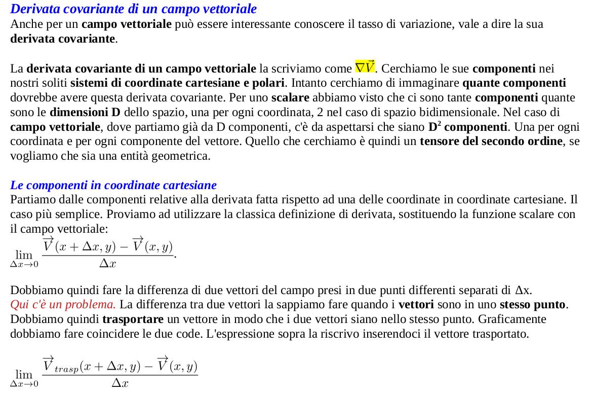 Derivata covariante di un campo vettoriale