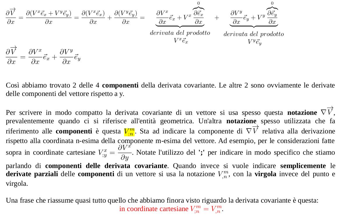 Componenti della derivata covarianted i un vettore in coordinate cartesiane