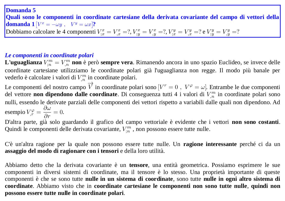 Componenti della derivata covariante in coordinate polari