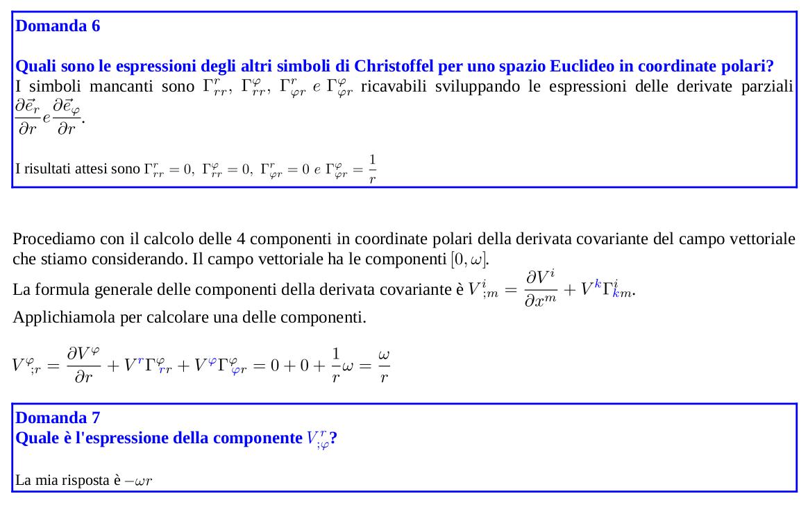 Calcolo dei simboli di Christoffel in coordinate polari